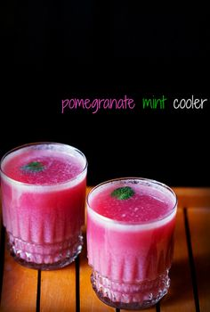 pomegranate mint cooler recipe with step by step photos - a refreshing pomegranate and mint cooler for summers. Indian Drinks, Indian Desserts, Indian Food Recipes, Vegetarian Recipes, Juice Drinks, Fruit Drinks, Healthy Drinks, Beverages, Mango Drinks