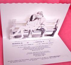 Pop up Wedding Invitations :  wedding invitation photo pop up typewriter DSCN0289