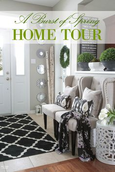 See my Spring House Tour and spring home decor ideas for the foyer and living room! See my spring fabrics, boxwood and tulip arrangements.