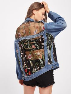 To find out about the Embroidered Mesh Insert Boyfriend Denim Jacket at SHEIN, part of our latest Denim Jackets ready to shop online today! Custom Clothes, Diy Clothes, Painted Denim Jacket, Customised Denim Jacket, Denim Art, Diy Mode, Painted Clothes, Blue Jean Jacket, Looks Vintage