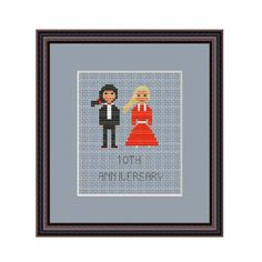 10th Wedding Anniversary. Counted Cross Stitch Pattern. PDF Instant Download. Wedding Gift. Bride. Groom. Customizable.
