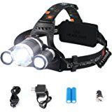 Diateklity Bright LED Headlamp Headlight Flashlight, 4 Modes w/ 3 Cree T6 LED, Waterproof Rechargeable for Outdoor Hiking Camping Riding Fishing Hunting