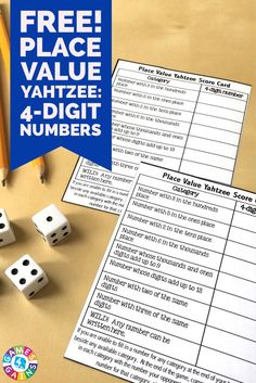 This FREE Place Value Yahtzee game makes practicing place value to the thousands place fun... plus it really makes students think!