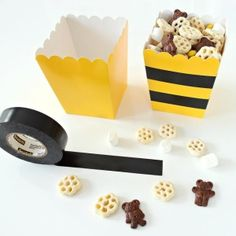 "Black electrical tape + yellow @orientaltrading popcorn boxes = Honeycomb Party Mix!  Perfect snack at my 'What Will It BEE?"" gender reveal party!"