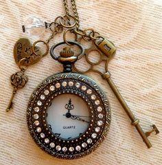 Charm pocket watch necklace $19