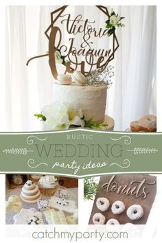 Cecilia R's Wedding / floral - Rustic Wedding at Catch My Party Floral Wedding, Rustic Wedding, Wedding Inspiration, Wedding Ideas, Rustic Cake, Party Activities, Dessert Table, Fun Desserts, Holiday Parties