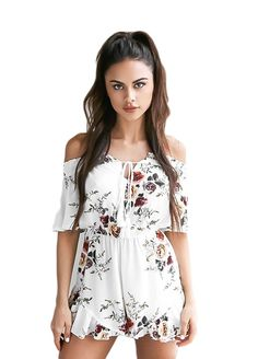 White Elastic Off Shoulder Floral Romper_Jumpsuit & Rompers_Women Clothes_Sexy Lingeire | Cheap Plus Size Lingerie At Wholesale Price | Feelovely.com