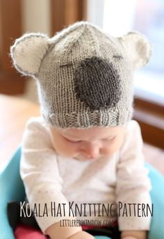 If you have a baby who loves to snuggle, then the Cuddly Koala Baby Hat is the perfect free knitting pattern. With your little one on your hip wearing this adorable knit baby hat, he or she will look just like a tiny koala. How sweet! The worsted weight y Knitting For Charity, Baby Hats Knitting, Knitting For Kids, Knitting Projects, Knitted Hats, Free Knitting, Diy Tricot Crochet, Crochet Baby, Baby Hat Patterns