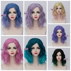 40CM Short Curly Hair Lolita Multi Color Halloween Anime Synthetic Cosplay Wig
