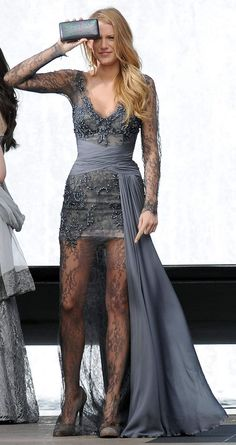 Gossip Girl Serena van der Woodsen in  Grey Haute Couture Zuhair Murad Gown, one of my Favourite Designer Gowns Blake gets to wear on GG