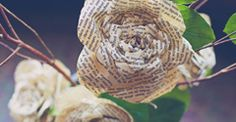 You're going to love today's DIY project so much that you're going to want to start tearing pages out from old books tonight! Remember the storybook roses inShanna + Richard's wedding? Sweet, right? Floral designer, Cathy Brim of Bloom Floral Design created the elegant branch bouquets seen in their ceremony using Valerie Lloyd's paper roses …