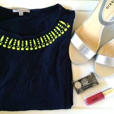 GAP beaded tee Chic! It's a dark blue tee with greenish/yellow beads at the neckline. Sleeves are just past elbow length. 60% cotton and 40% modal. Stretchy and lightweight. GAP Tops Tees - Long Sleeve