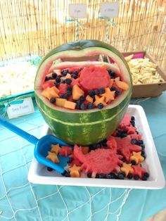 Watermelon fruit salad at a Little Mermaid birthday party! See more party planning ideas at CatchMyParty.com!