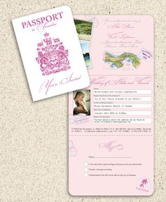 This gorgeous Pink and White Passport invitation was created for a wedding in Panama by www.DestinationStationery.com