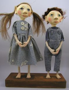 sibling cloth and clay dolls by cindy riccardelli