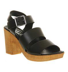 Office Deer Mid Heel Sandal Black Leather - Mid Heels