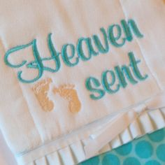 Burp Cloth Embroidered Burp Rag Heaven Sent by elainestiarasntutus