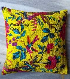 16''INDIAN KANTHA FLORAL PAISLEY ETHNIC COUCH CUSHION PILLOW THROW COVER
