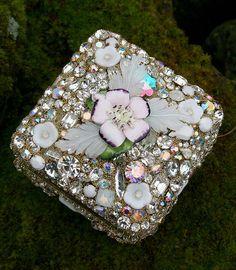Jeweled Box Large Rhinestones Encrusted Jewelry by ASoulfulJourney
