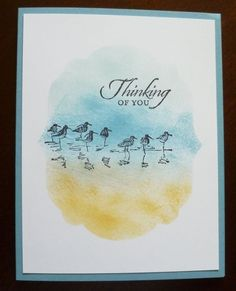This is from Wetlands. I love that set! I created a mask and sponged on the color then stamped the birds. Again the inspiration for this one came from Pinterest. They however had colored the acrylic block and stamped the...