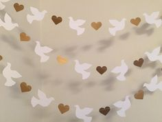Christening Garland - Gold & White Dove Baptism decorations - Wedding Garland - Religious Baby Dedication Decor - Your Color choice from anyoccasionbanners Decoration Communion, Baptism Party Decorations, Heart Decorations, Valentines Day Decorations, First Communion Party, First Holy Communion, Wedding Doves, Wedding Card, Baby Baptism