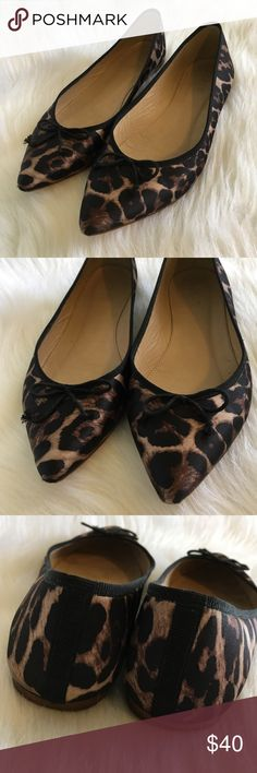 Cheetah Leopard Bow Pointed Toe Leather Sole Flats Top quality preloved J. Crew flats in a multi color animal pattern. Black trim with a mini bow. Normal signs of wear. Almond Round Pointed Toe Woven Satin Leather Soles Pattern Animal Cheetah Leopard Striped Solid Trimmed J. Crew Shoes Flats & Loafers