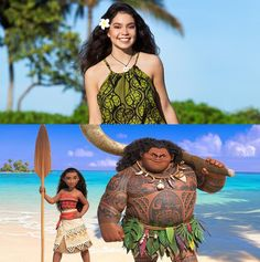 "Meet the voice of #MOANA! In ""Moana,"" Walt Disney Animation Studios' upcoming big-screen adventure, a spirited teenager named Moana (left) sails out on a daring mission to prove herself a master wayfinder. Along the way, she meets once-mighty demi-god Maui (right). Featuring Native Hawaiian newcomer Auli'i Cravalho as the voice of Moana, and Dwayne Johnson as the voice of Maui, ""Moana"" sails into U.S. theaters on Nov. 23, 2016. ©2015 Disney. All Rights Reserved. #Disney #Princess #Moana"