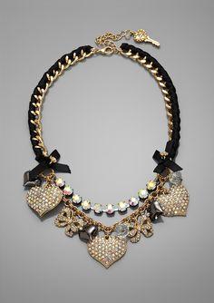 Betsey Johnson Pave Heart Frontal Necklace via ideeli.com
