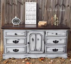 """I love this farmhouse buffet/dresser, refinished in General Finishes Seagull Gray Milk Paint with ebony glaze and distressed in my signature style!"" - New Old Finds You can achieve this glaze look by also using GF's Pitch Black Glaze Effects."