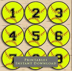 2.5 Softball Printable Cupcake Toppers Tags by JannaSalakDesigns #softball #teamparty