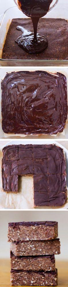 Chocolate Brownie Breakfast Bars - Ingredients: 1 cup rolled oats, 3 tbsp cocoa powder, 1 tbsp...