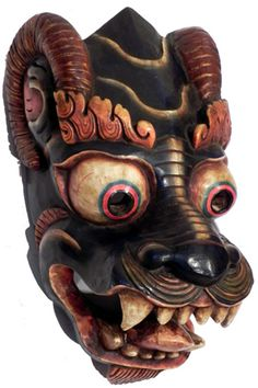MASKS OF TEBET | Home > Sold Items > SOLD Tibetan Lion Mask with Horns 16""