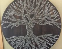 Tree of Life String Art - Rustic Nail Art - Tree String Art - nature art - Handcrafted - Wall Art - Home Decor - Woods - Beautiful Wooden