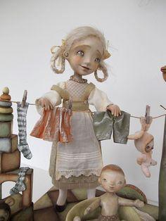 OOAK Art Doll Handmade Artisan Papier-mache Cloth Doll-Toy Girl Modern Artist