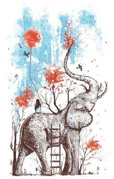 elephant illustration/drawing with girl and tree Art And Illustration, Elephant Illustration, Afrika Tattoos, Elephant Love, Elephant Artwork, Elephant Drawings, Elephant Watercolor, Colorful Elephant, Elephant Trunk