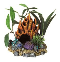 Fire Coral Cave With Plants Aquarium Ornament Resin, Blue Ribbon Pet Products -  A Natural Hand-crafted Coral Replica, Artistically Arranged With Artificial Plants  Coral Florals Series Are Safe For All Freshwater And Marine Aquarium      5 X 4.5 X 4.5