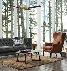 Rejuvenation Hardware. Belmon Tuxedo Tufted Sofa, Clinton Chair, walnut coffee table, ikat pillow.