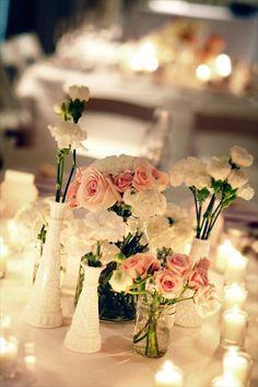 Vintage wedding centerpieces with milk glass vases Inexpensive Centerpieces, Inexpensive Wedding Flowers, Wedding Decorations On A Budget, Flower Decorations, Wedding Centerpieces, Centerpiece Ideas, Photo Centerpieces, Baby's Breath Wedding Flowers, Neutral Wedding Flowers
