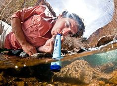 """If you spend any time in the wilderness, you'd do well to add one of these to your emergency kit. It's a water purifying straw that removes """"99.9999% of waterborne bacteria and 99.9% of parasites without any use of chemicals."""""""