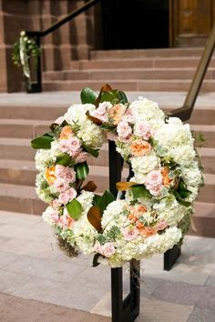 wreath on handrail Greenery Wreath, Floral Wreath, Floral Wedding, Wedding Flowers, Wedding Doors, Wedding Wreaths, Table Decorations, Gallery, Garden