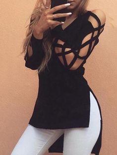 V Neck Asymmetical Sleeve Split Shirt Plus Size Top Blouse
