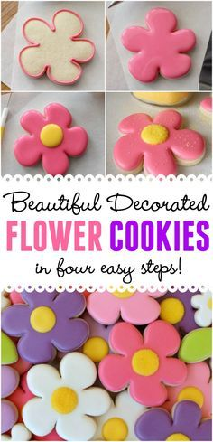 These beautiful decorated flower cookies are sure to please. Best of all they're easy enough for a beginner, in just 4 easy steps.