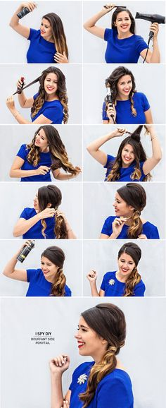 "I Spy DIY: ASK THE EXPERT | Bouffant Side Pony Tail-she is weirdly happy to be doing this hairstyle.  I'm usually making a ""dammit"" face when I do my hair."