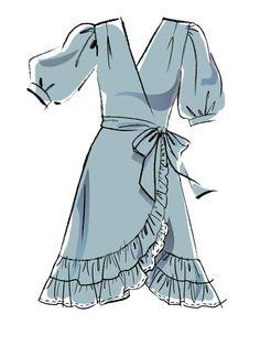 May 2020 - Misses' Dresses & Sash Sewing Pattern Dress Design Drawing, Dress Design Sketches, Fashion Design Sketchbook, Dress Drawing, Fashion Design Drawings, Fashion Sketches, Dress Designs, Art Sketchbook, Fashion Drawing Dresses