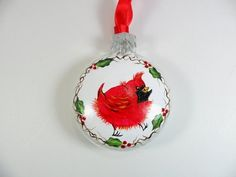 3 7/8 Inch Musical Christmas Bell with Red Cardinal Center ...
