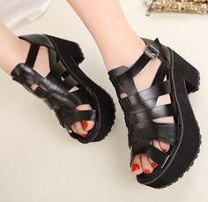 punk black fashion cut outs platform shoes woman sandals for women new 2014 ladies pumps high thick heels belt buckle GL140004 $35.50