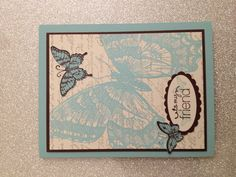 Stampin up - swallowtail   Stamp on printed paper, great idea