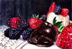 "My 35th ACEO. Watercolor 2.5x3.5"" ""Afternoon Delight"" Jillian Crider 2005. I went to the supermarket and bought these yummy things JUST to paint. Fun!"