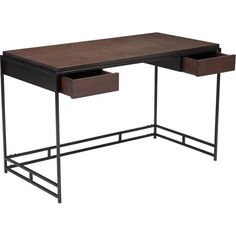 Classically modern, the Steven Desk features a rectangular design to rich black wood top accented by slim yet sturdy geometric metal legs in black finish and ma
