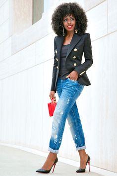 Style Pantry   Double Breasted Blazer + Tank + Boyfriend Jeans